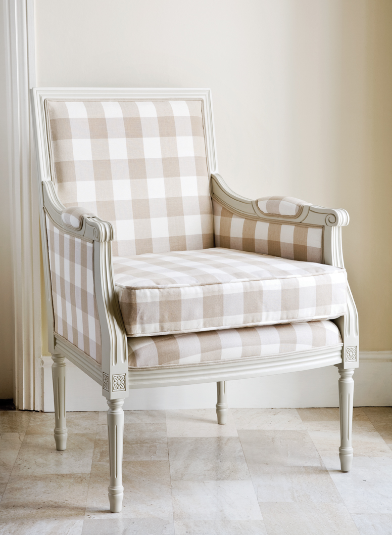 Beige Gingham Louis XVI Chair