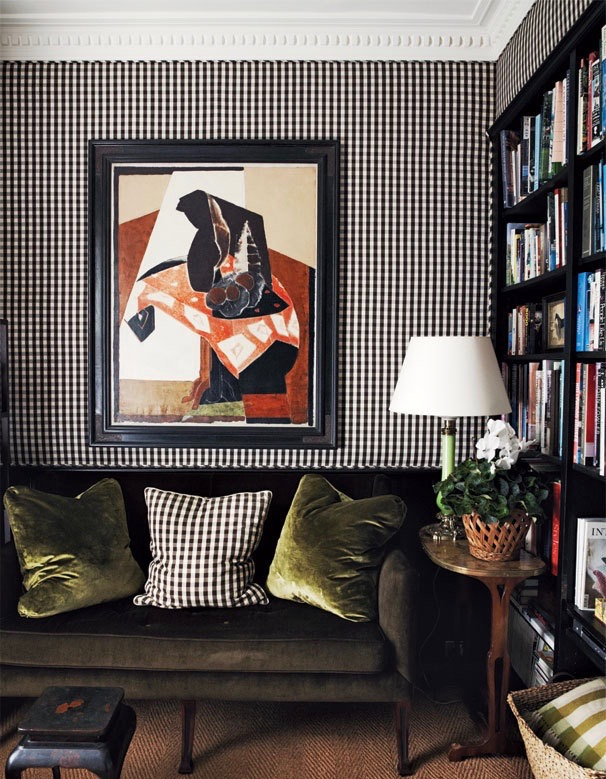 Gingham Upholstered Walls Black Cameron Kimber