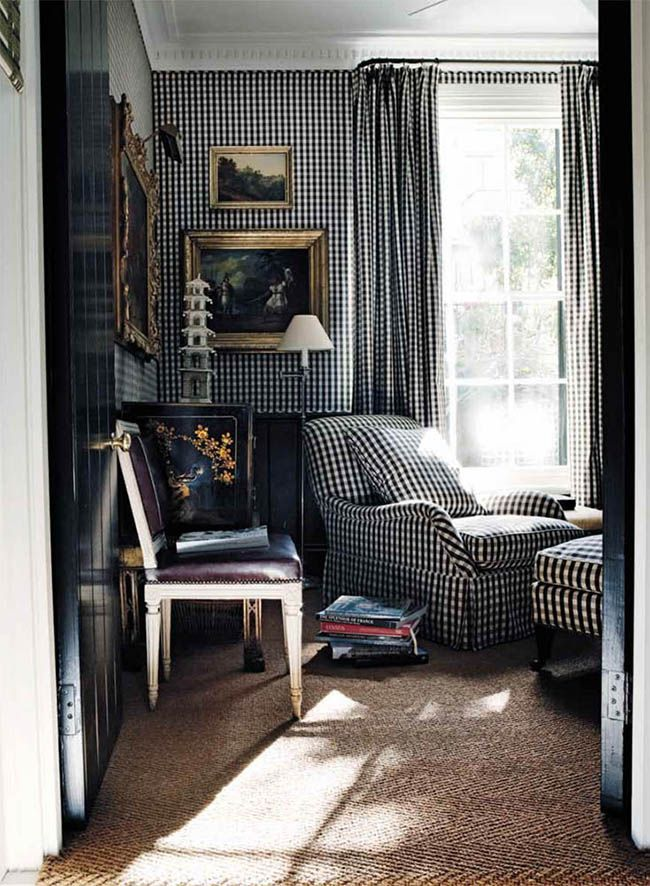 Gingham Upholstered Walls Curtains Cameron Kimber Sisal Rug Leather Louis Side Chair