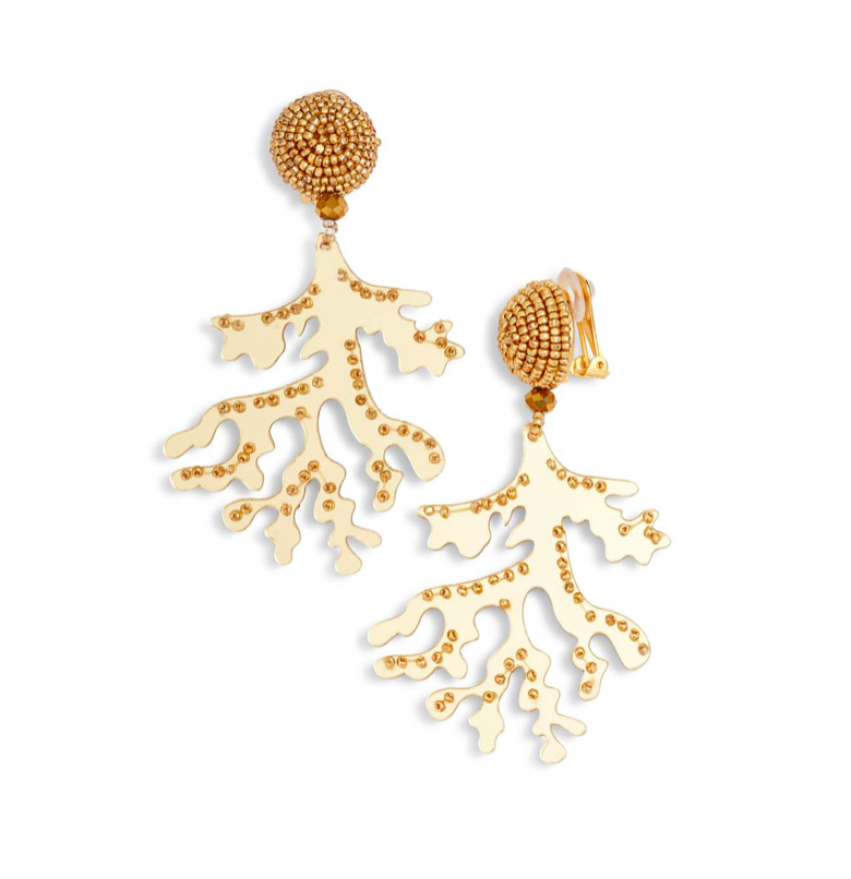 Gold Coral Branch Earrings Oscar de la Renta