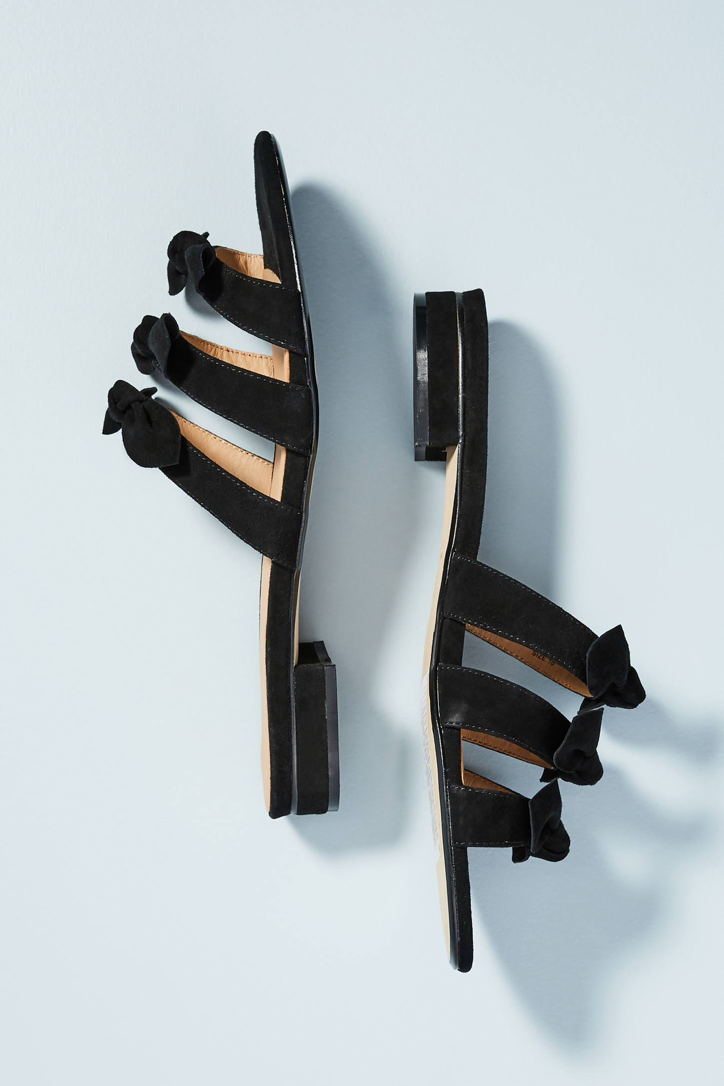 Black Slide Sandals with Bows