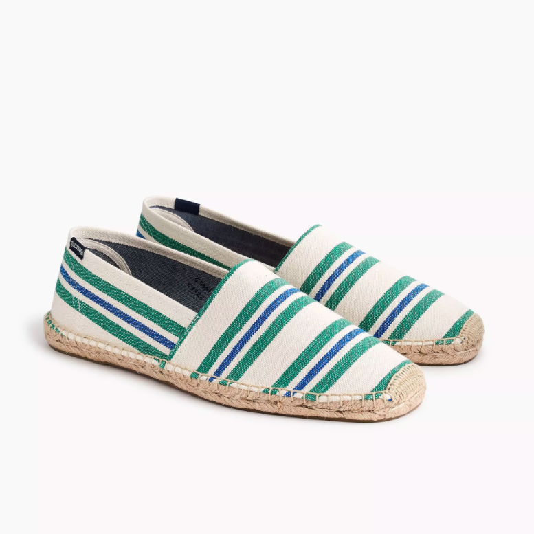 Blue Green Striped Men's Espadrilles Father's Day Gifts