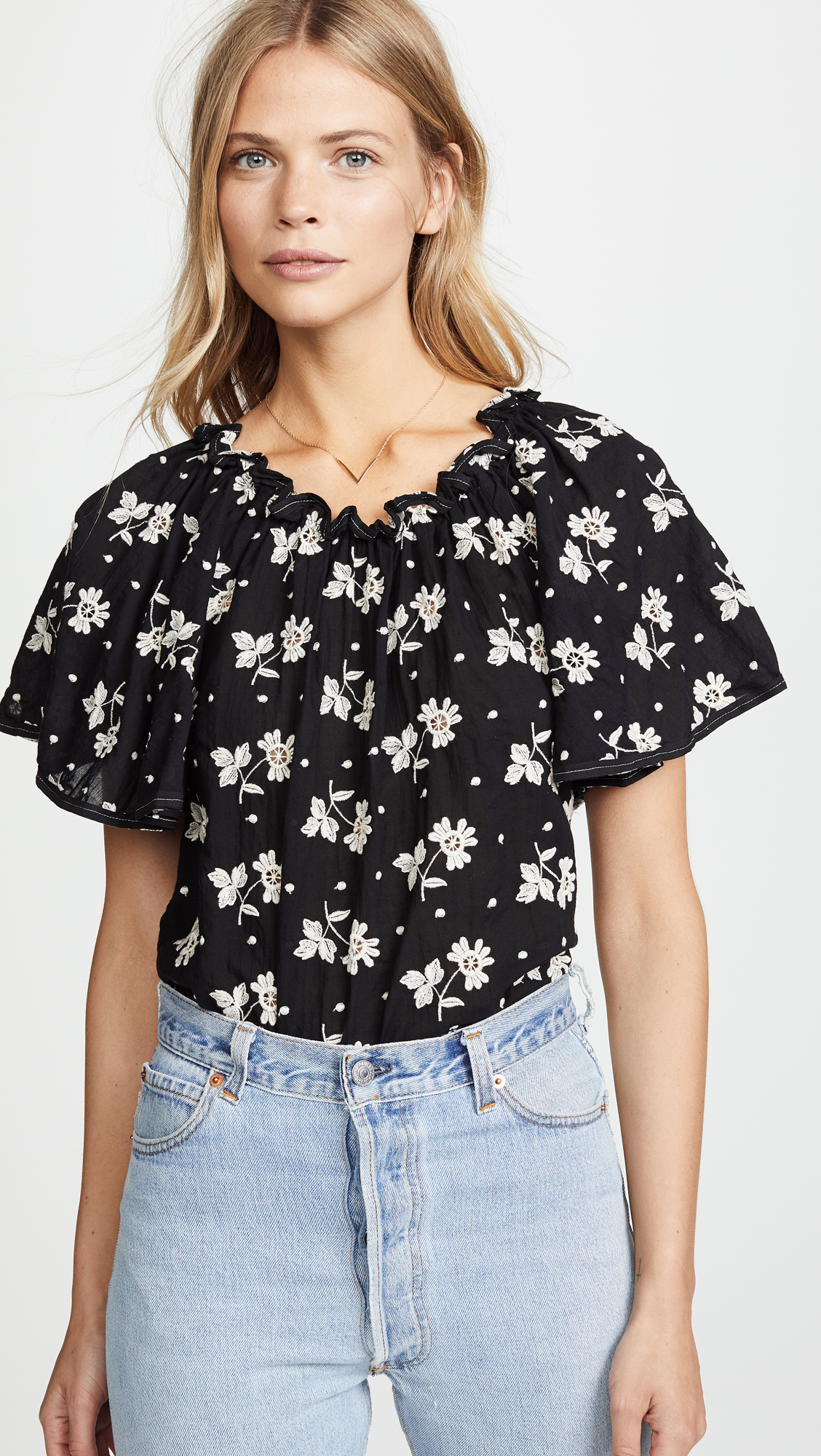 Black Ruffle Top with Embroidered White Flowers
