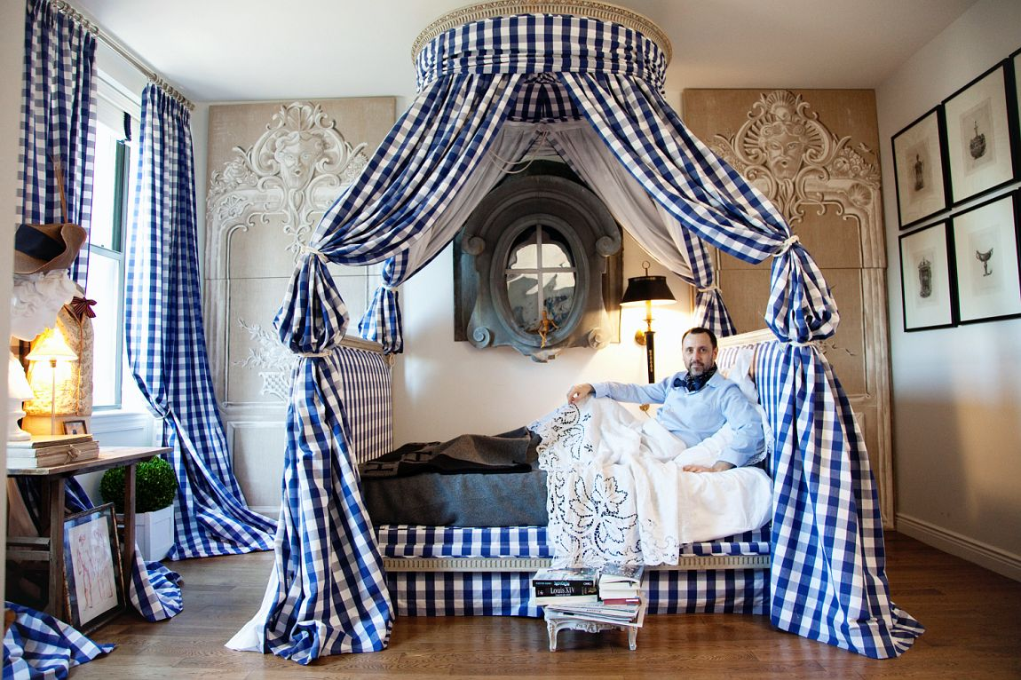 Antique Louis XVI Bed with Gingham Canopy in the New York Apartment of Hervé Pierre