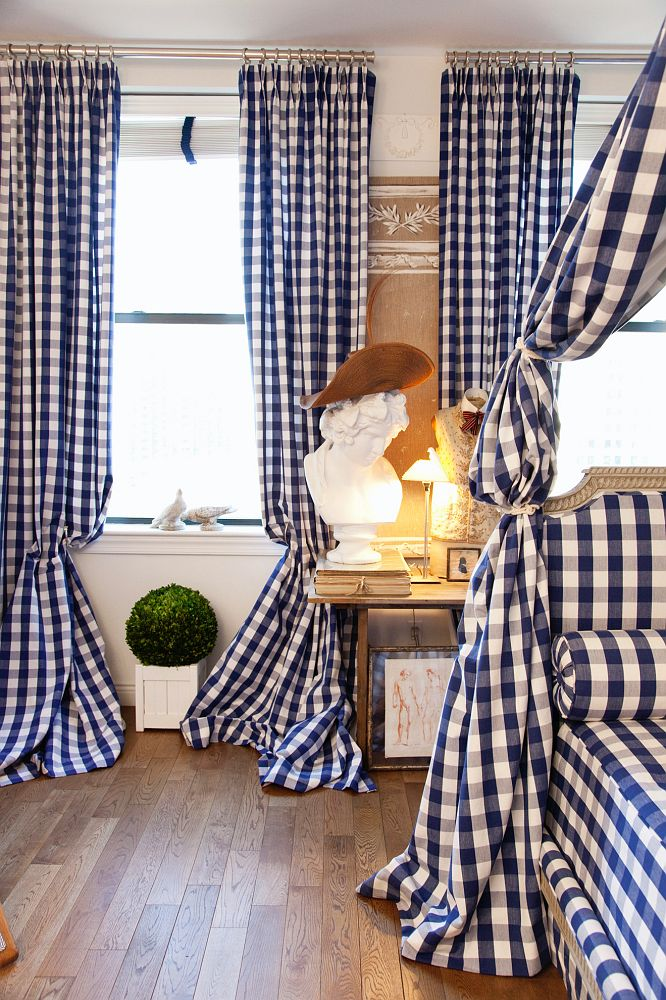 Gingham Curtains in the Manhattan Apartment of Fashion Designer Hervé Pierre
