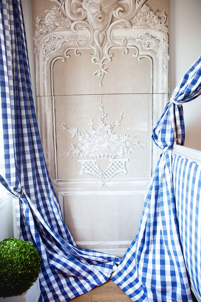 Blue Gingham Curtains in the New York Apartment of Fashion Designer Hervé Pierre