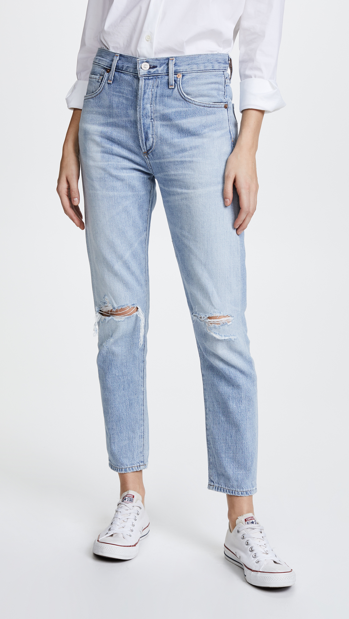 High-Rise Distressed Jeans Ankle Crop Women's