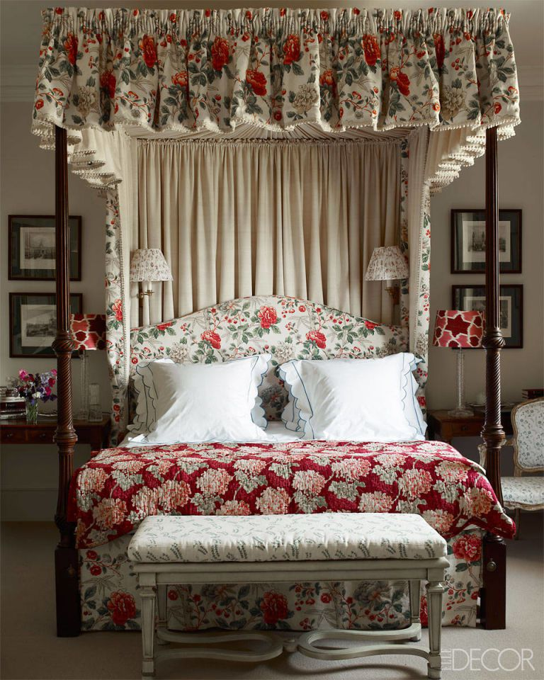 Jemma Kid Bedroom Chintz Canopy Bed Red Floral Scalloped Shams