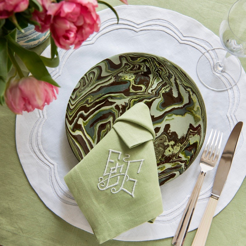 Green Marbled Plate French Pottery La Tuile à Loup Ceramics Round Scalloped Placemat Table Setting Paris