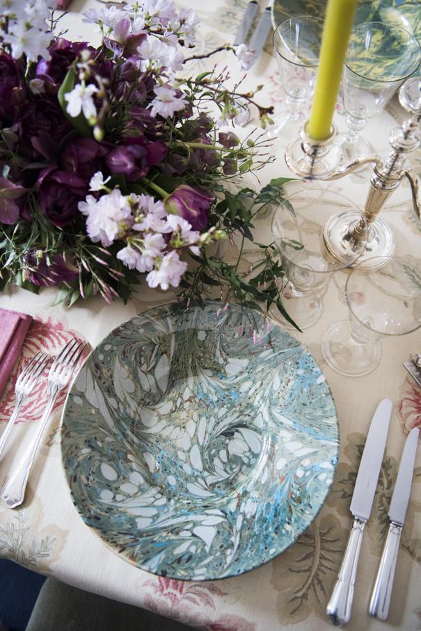 Blue Marbled Plate French Pottery La Tuile à Loup Ceramics Pink Napkin Table Setting Paris