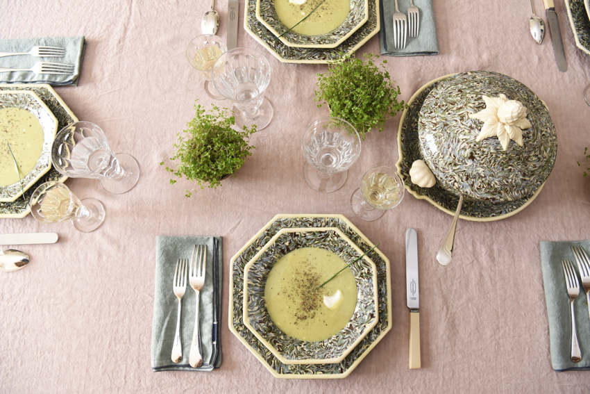 Marbled Plate French Pottery La Tuile à Loup Ceramics Table Setting Paris Pink Linen Tablecloth