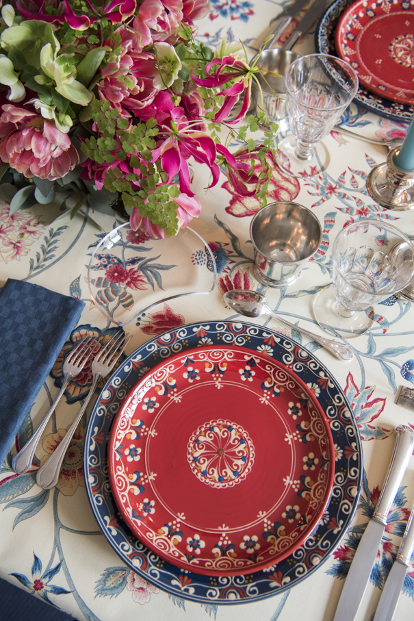 Red White Blue Plates French Pottery La Tuile à Loup Ceramics Table Setting Paris