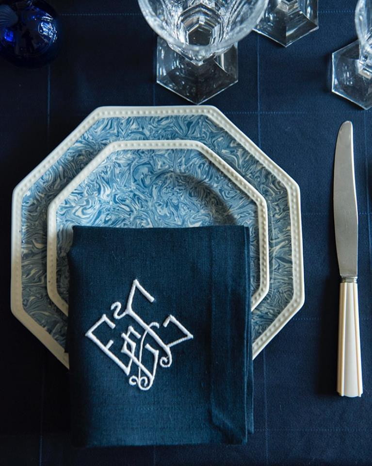 Blue Marbled Octagonal Plate French Pottery La Tuile à Loup Ceramics Table Setting Paris Monogrammed Navy Napkins