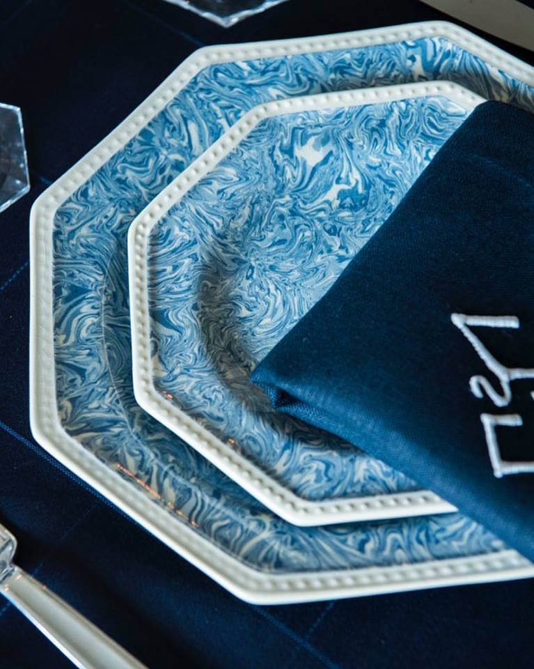 Blue Marbled Octagonal Plate French Pottery La Tuile à Loup Ceramics Table Setting Paris Navy Napkins