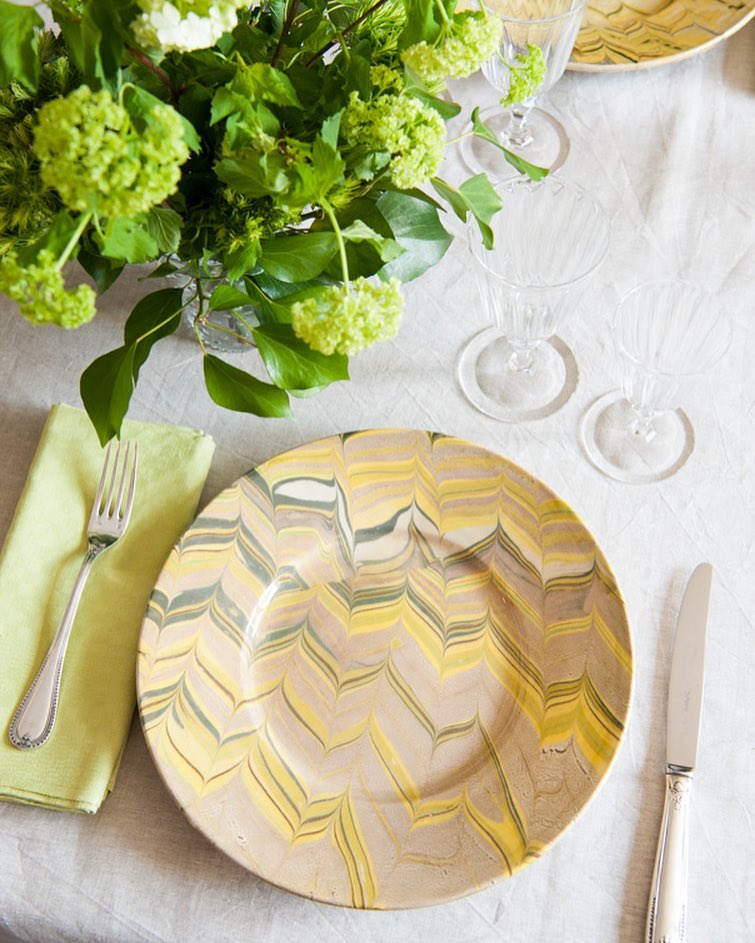 Yellow Marbled Plates French Pottery La Tuile à Loup Ceramics Table Setting Paris