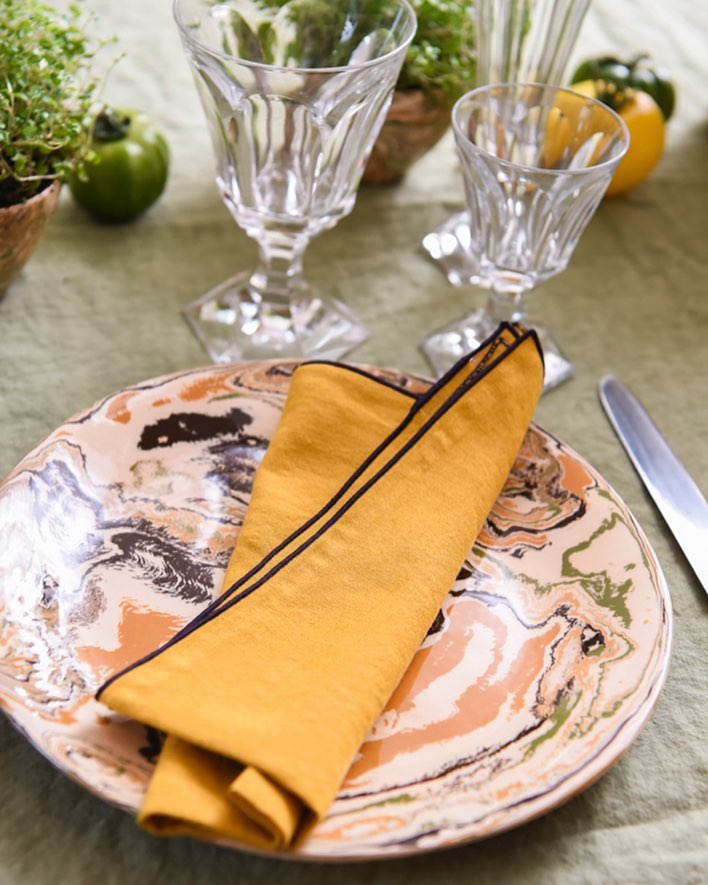 Marbled Plates French Pottery La Tuile à Loup Ceramics Table Setting Paris Yellow Napkins