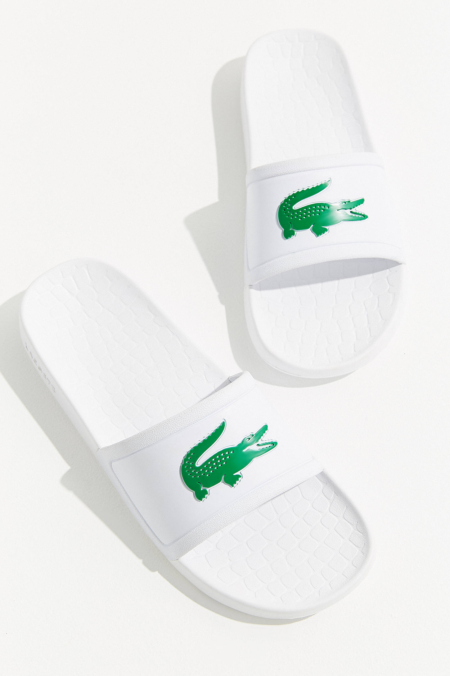 Lacoste Slide Sandals Pool Green White Crocodile
