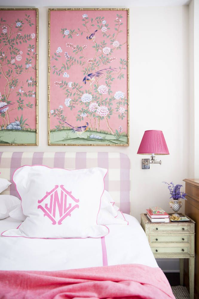 Lavender Gingham Headboard in a Bedroom Designed by Nick Olsen with Pink Chinoiserie Wallpaper Panels and Monogrammed Linens
