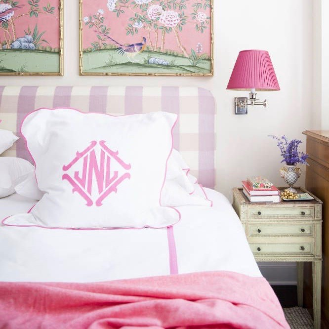 Lavender Gingham Headboard Plaid Pink Chinoiserie Wallpaper Panels