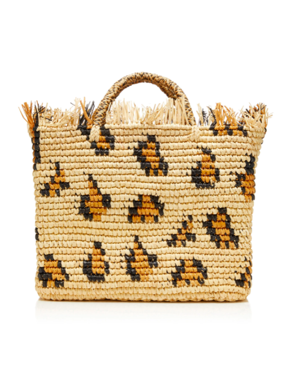 Leopard Print Straw Tote Bag with Frayed Top