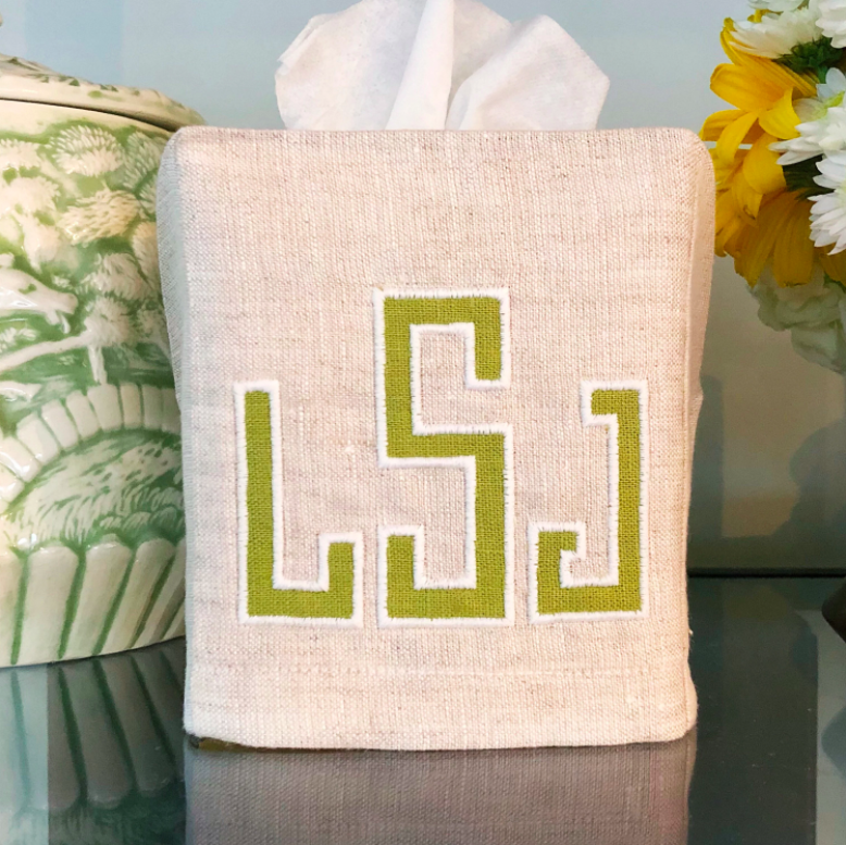 Embroidered Monogrammed Applique Tissue Box Cover
