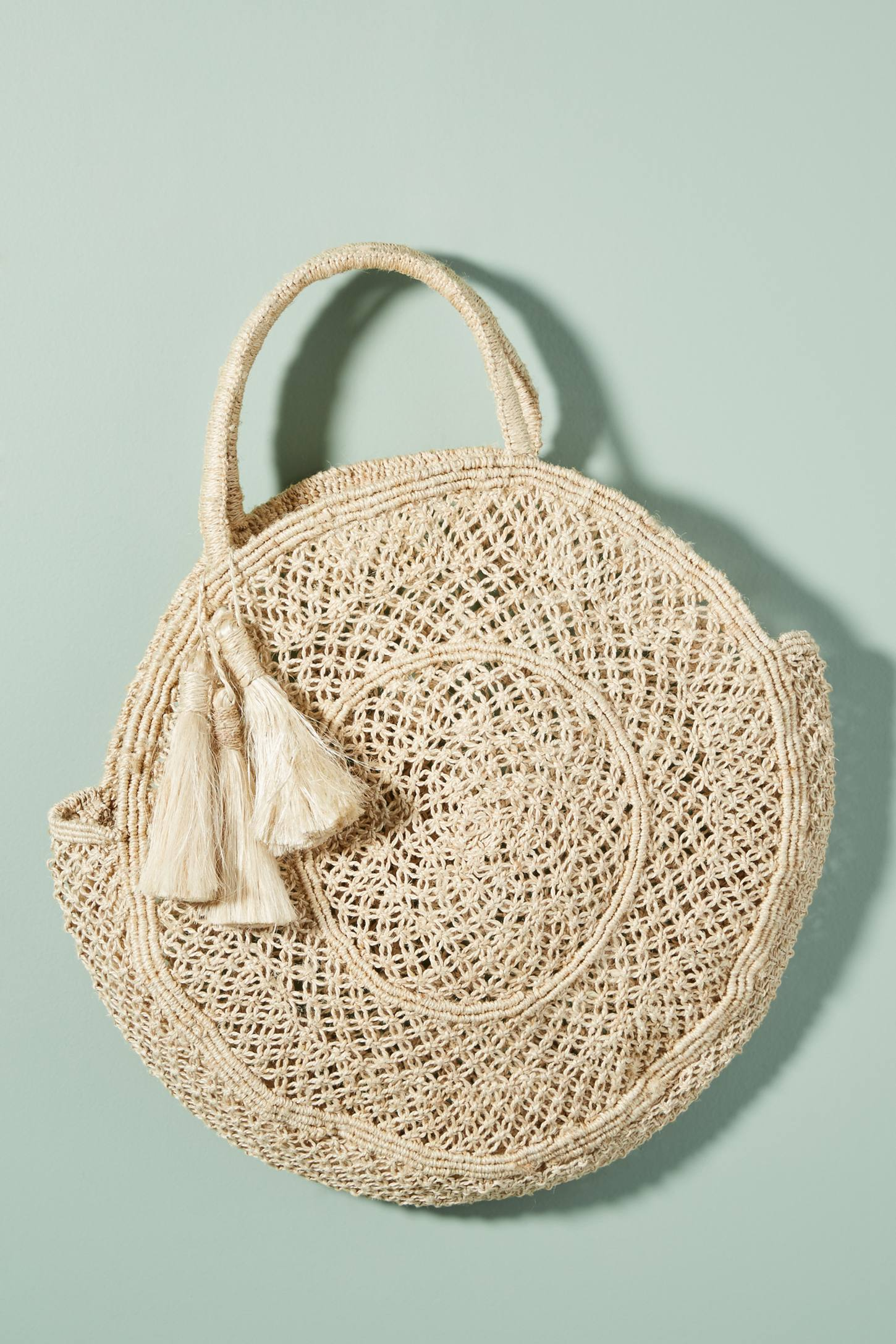 Round Woven Straw Tote Bag with Tassels