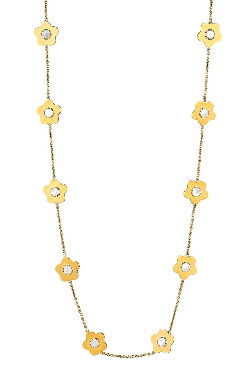 Flower Mother of Pearl Necklace Yellow Gold Asha