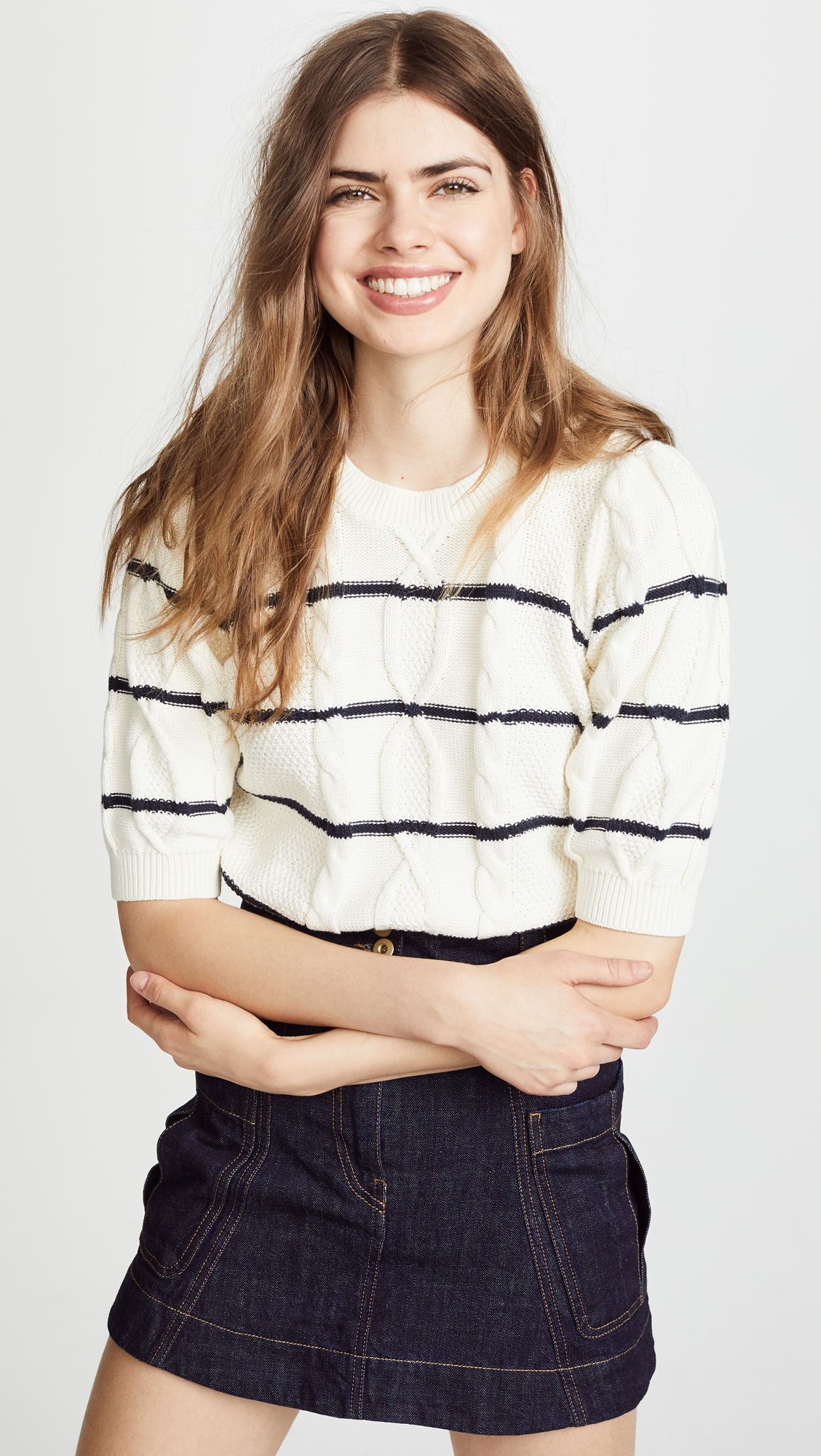 Short Sleeve Stripe Cable Knit Sweater