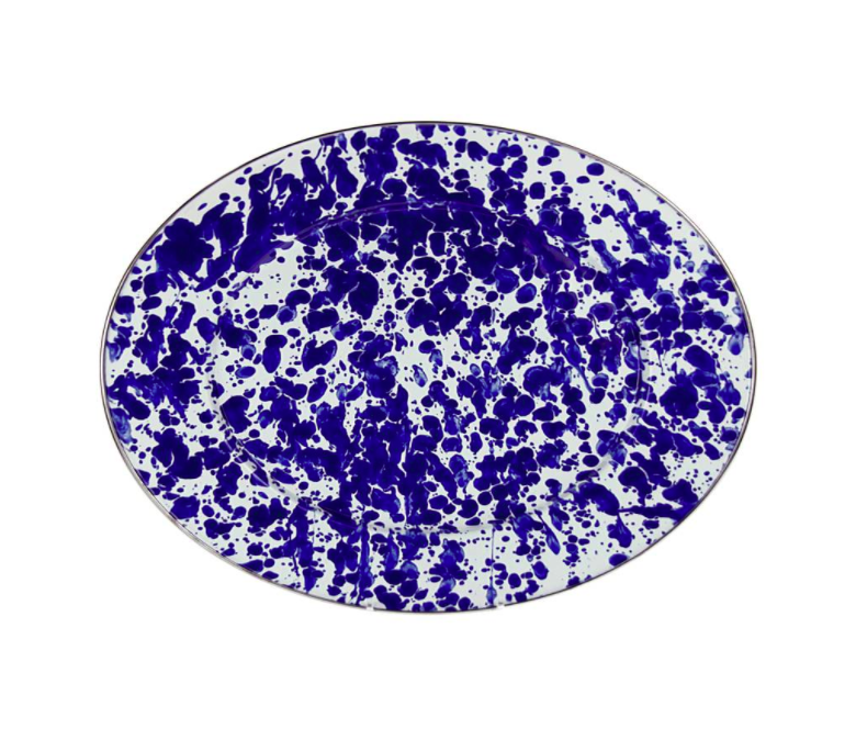 Blue and White Splatter Serving Platter