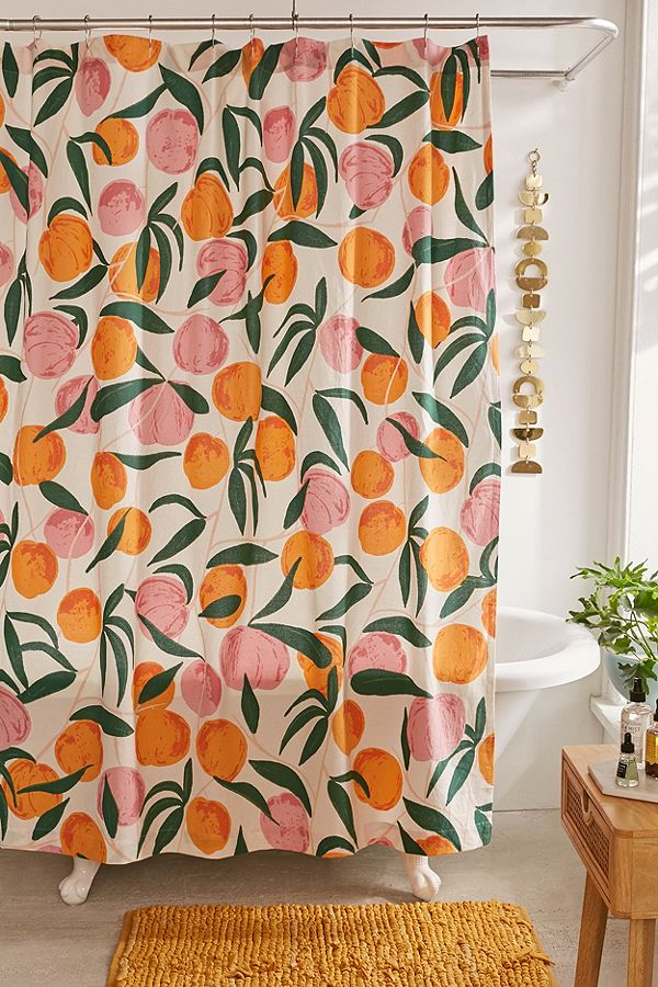 Peach Shower Curtain Fruit Design