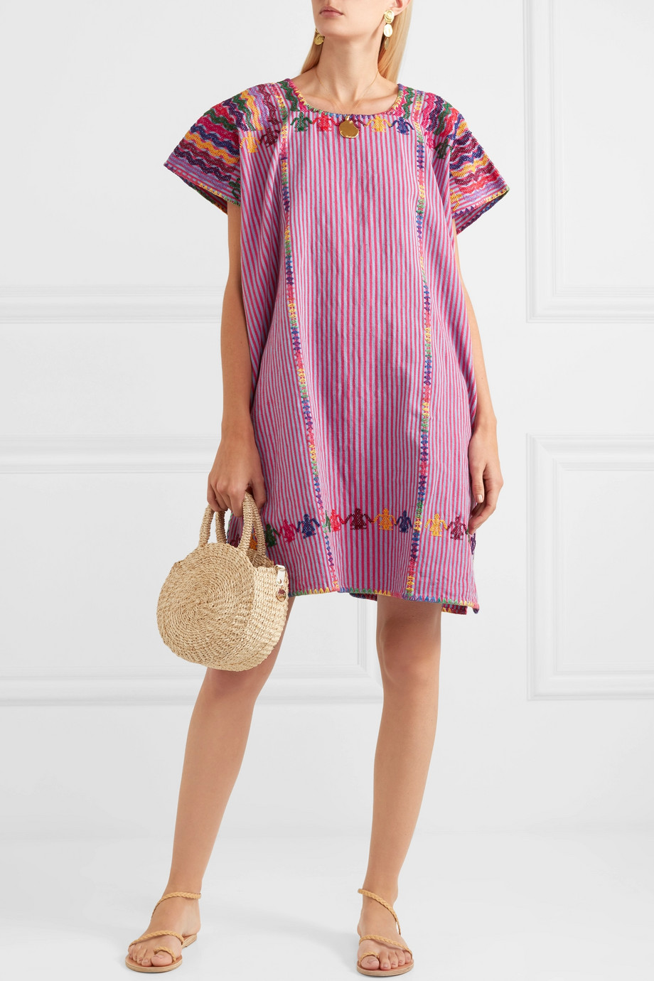Pippa Holt Embroidered Stripe Cotton Caftan Mexican Dress