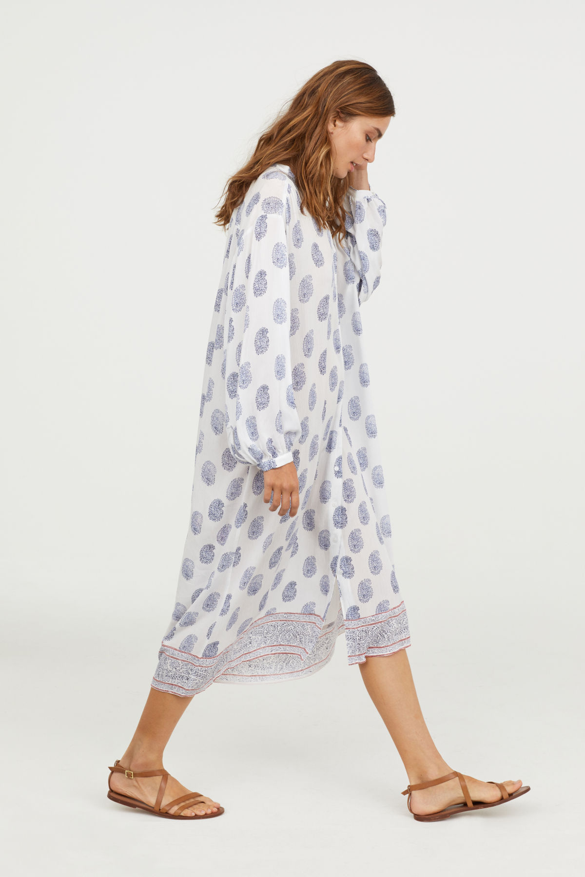 Printed Button-Up Dress Blue White Paisley Beach