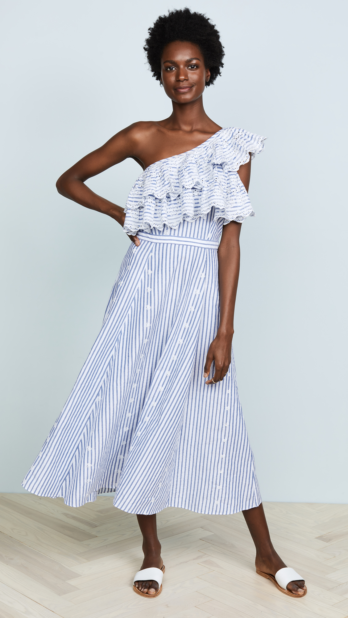 Striped One Shoulder Ruffle Dress, Blue and White Eyelet Trim