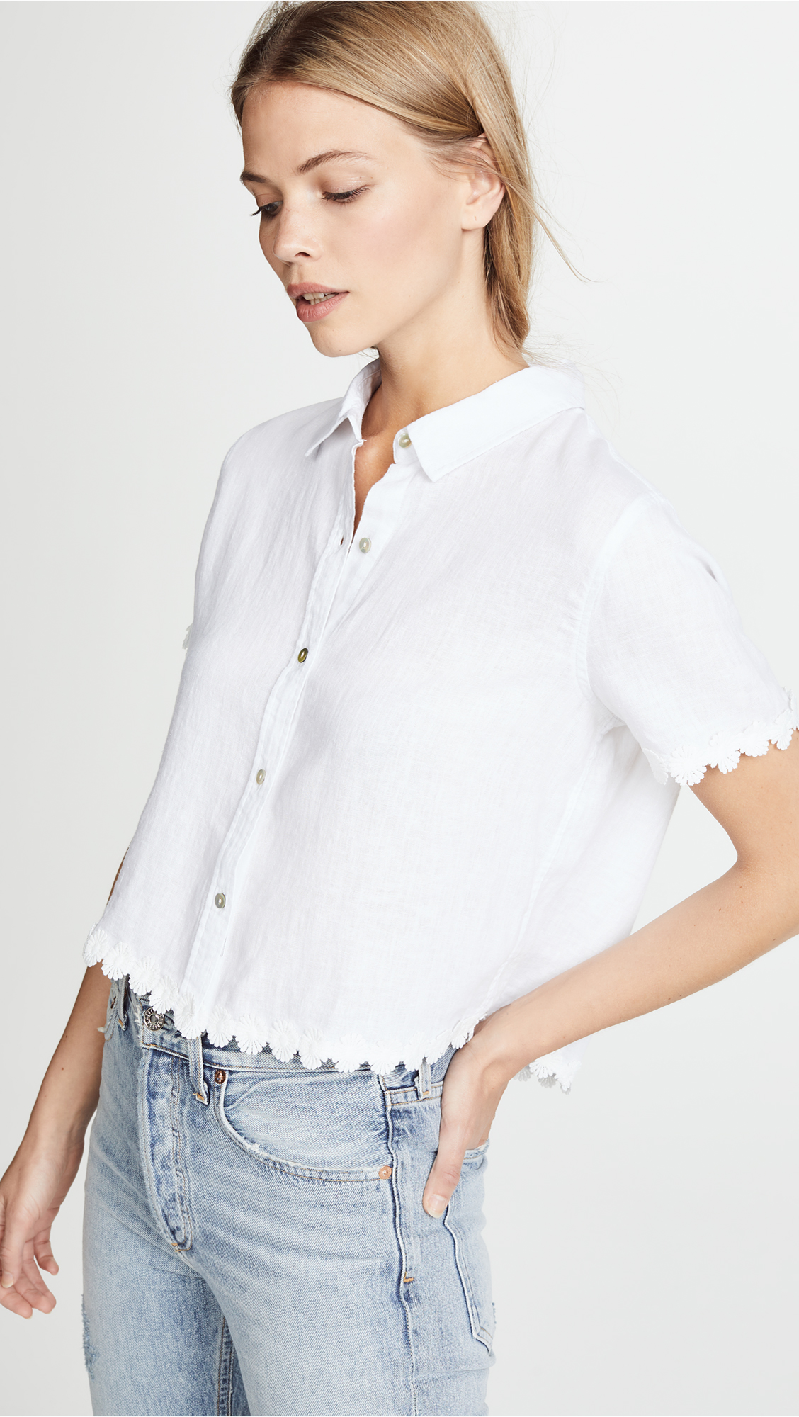 White Short-Sleeve Button Down Shirt with Scalloped Lace Trim
