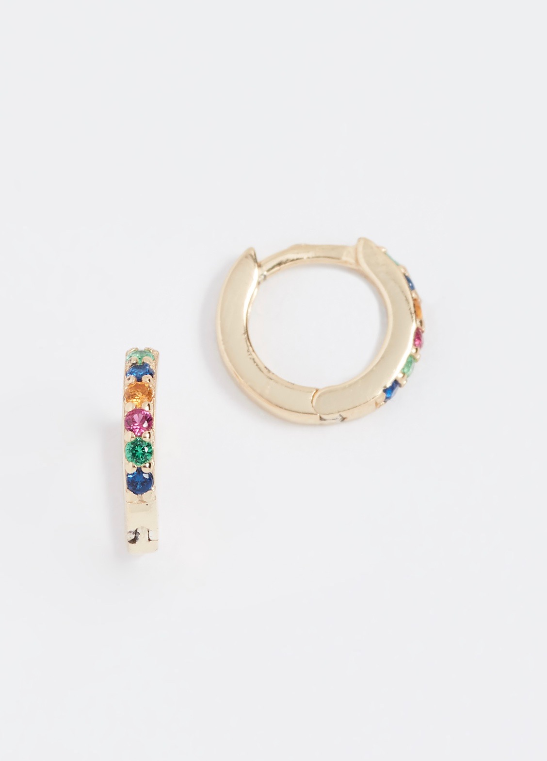 Rainbow Huggie Small Hoop Earrings Yellow Gold