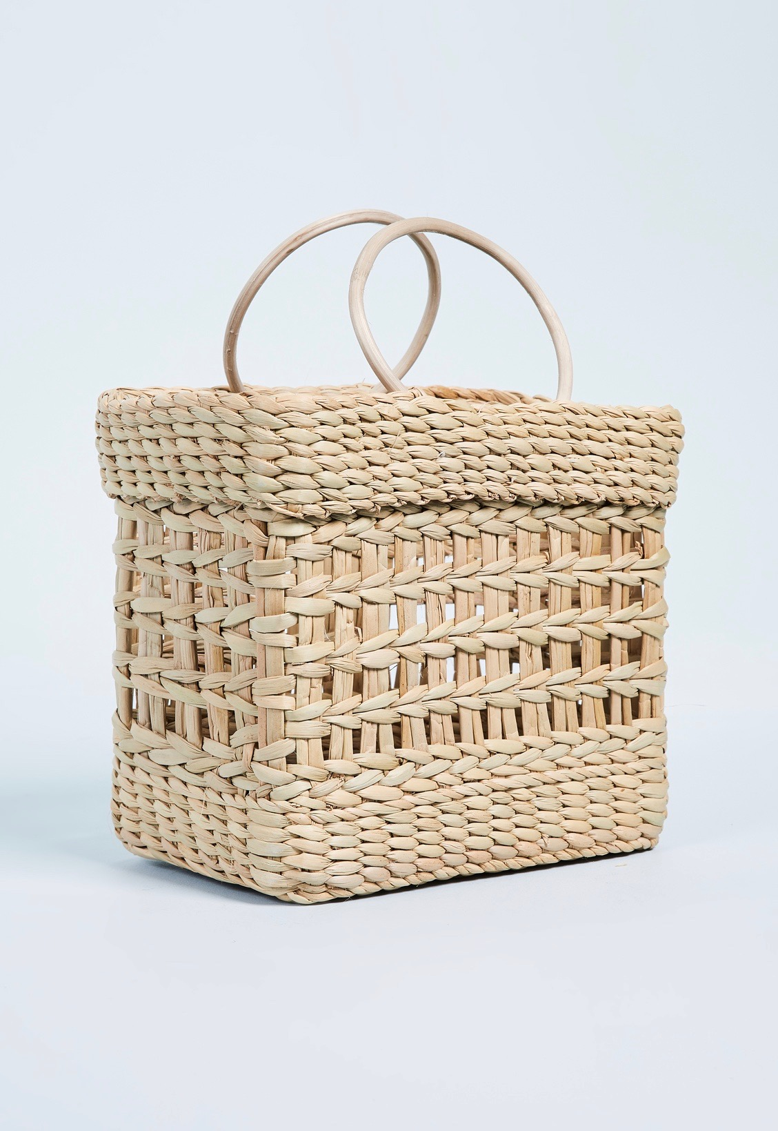Straw Tote Bag Round Handles Boxy Shape