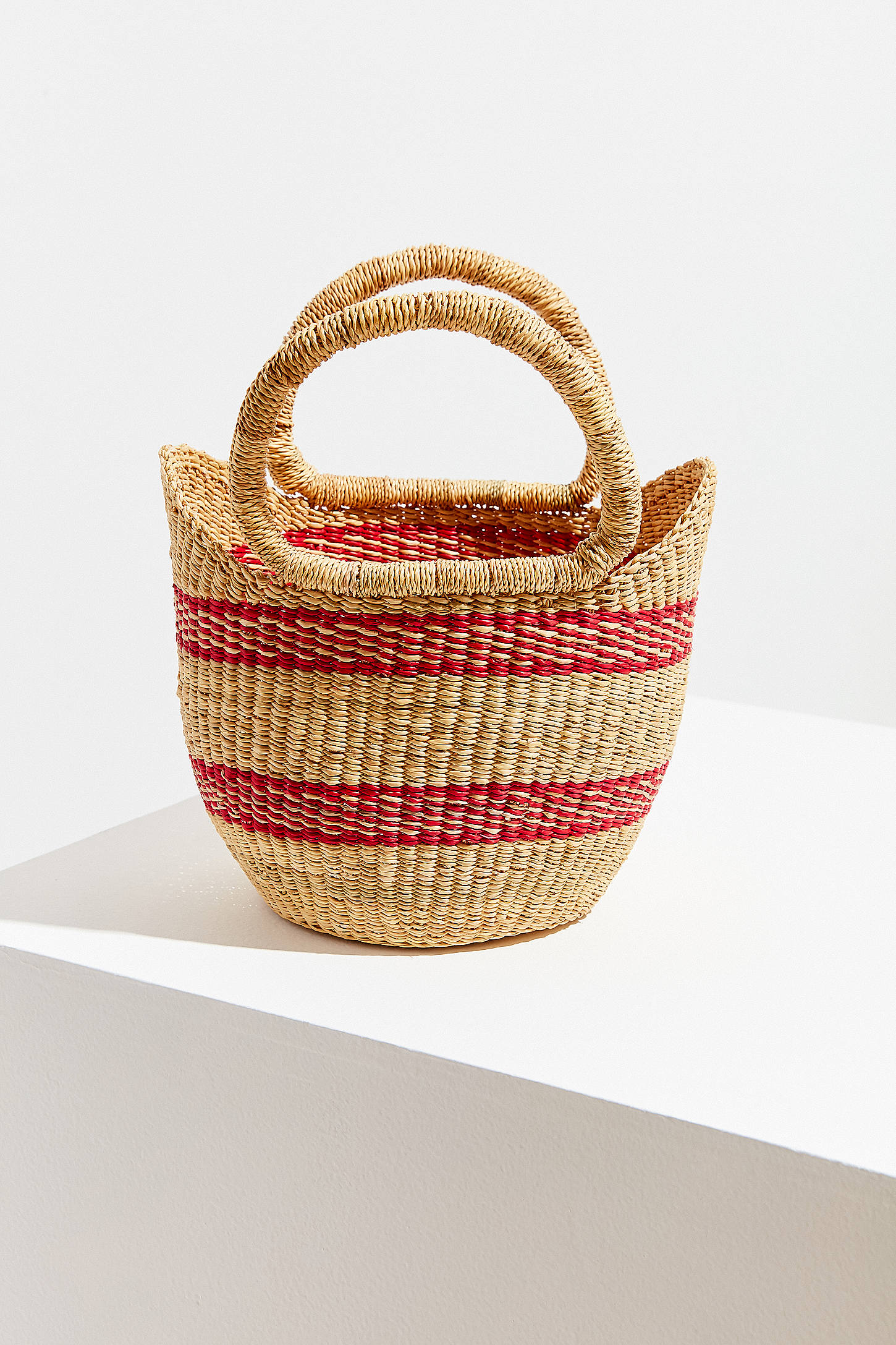 Red Stripe Small Straw Bag
