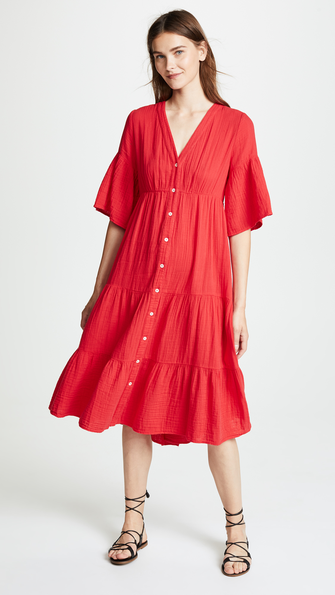 Red Button-Up Dress