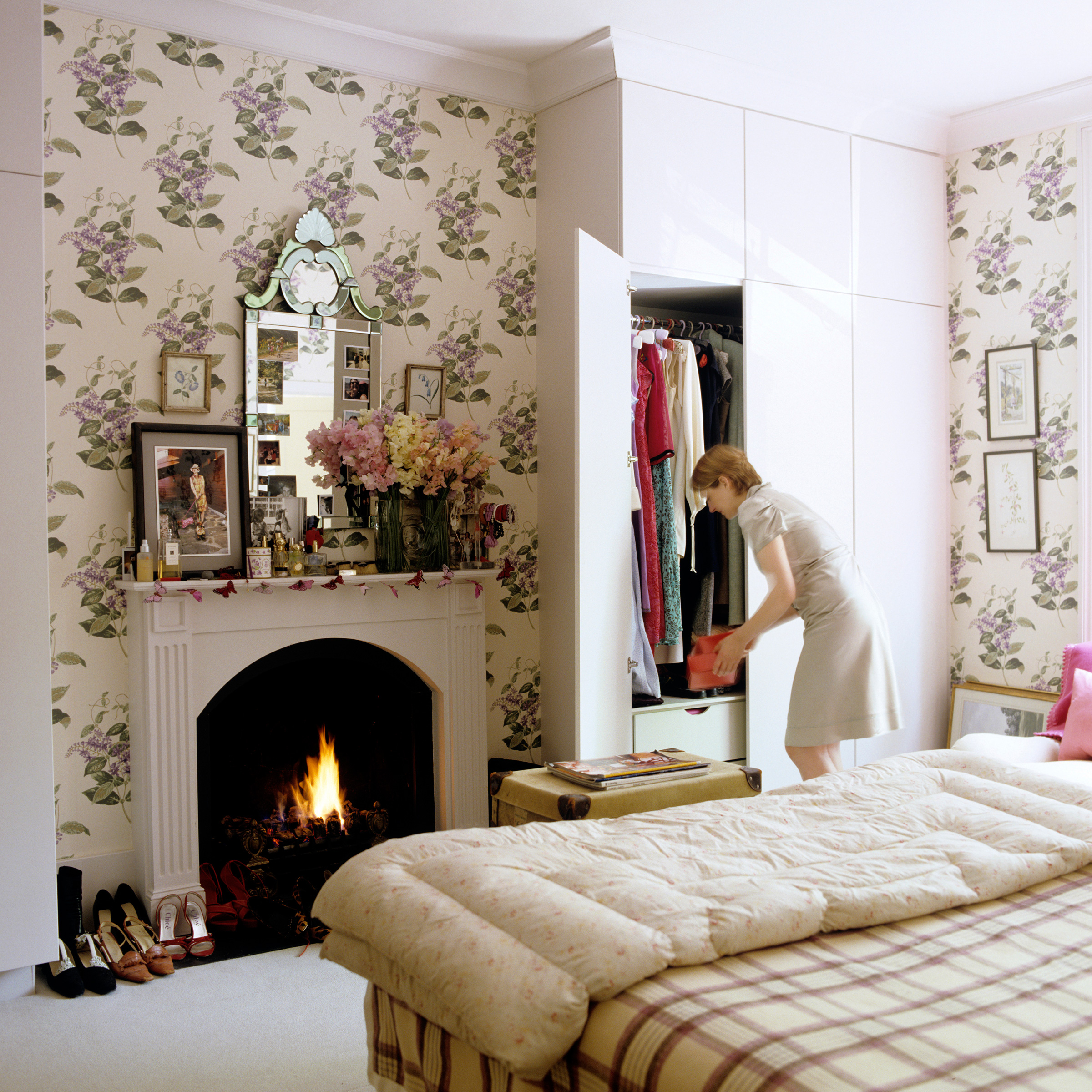 Cole and Son Wallpaper Madras Violet Rita Konig London Bedroom Plaid Throw Fireplace