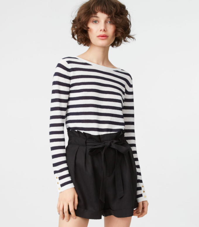 Sailor Stripe Sweater with Gold Buttons