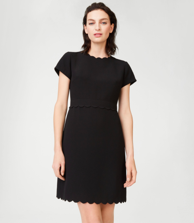 Scalloped Little Black Dress Short-Sleeve