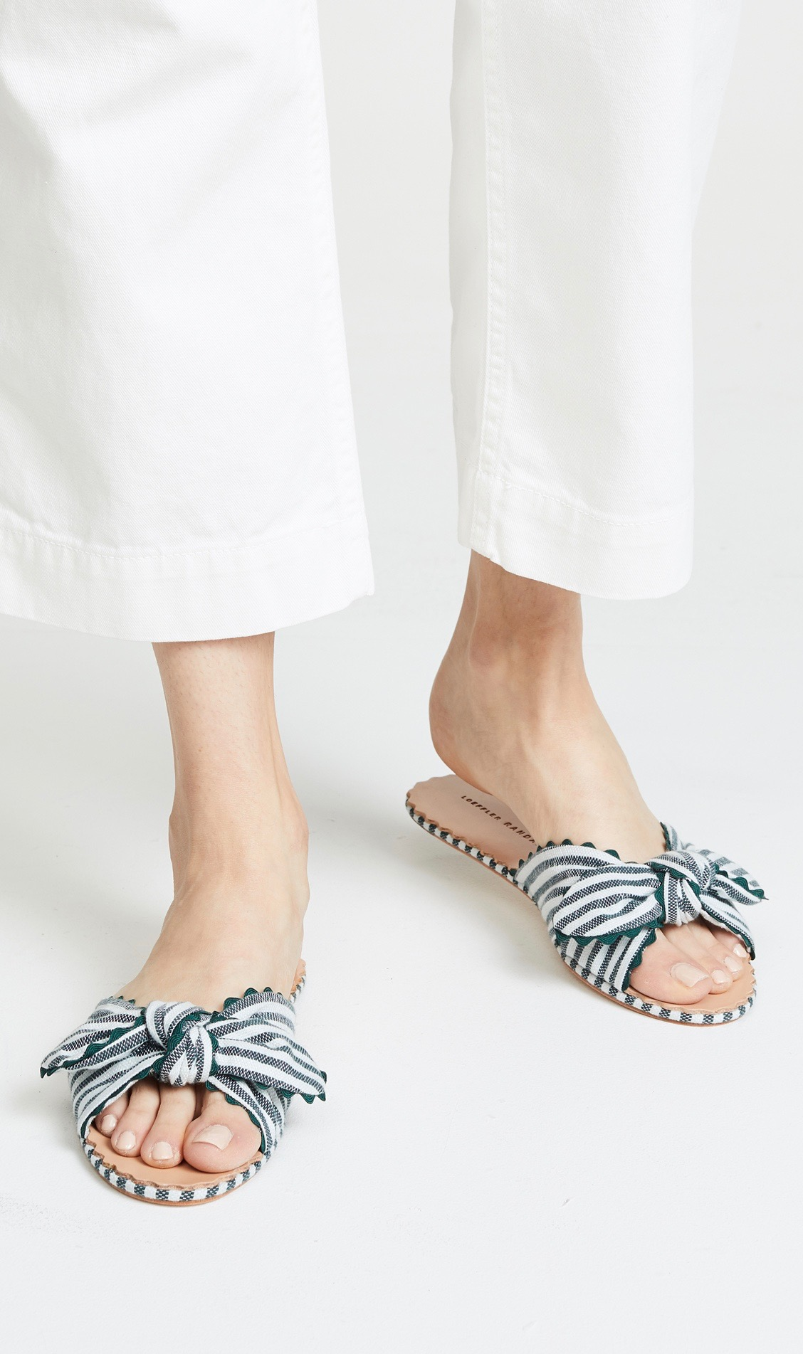 Striped Knotted Rickrack Slide Sandals, Loeffler Randall, Bow