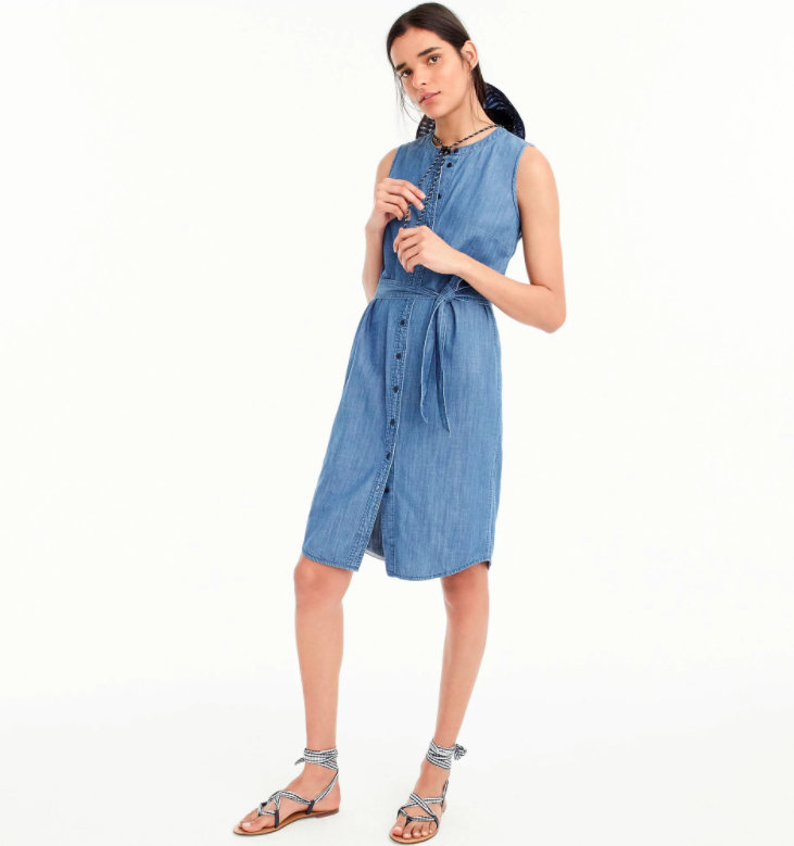 Sleeveless Chambray Shirtdress