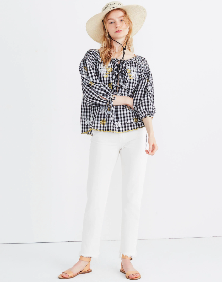 Smocked Gingham Embroidered Top