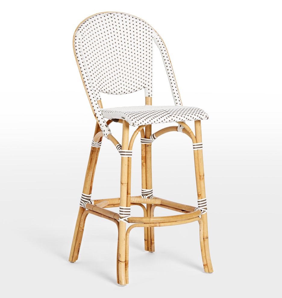 Rattan Cafe Bar Stool White Beige