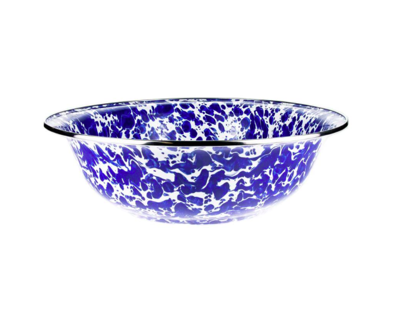 Blue and White Splatter Serving Bowl Enamel