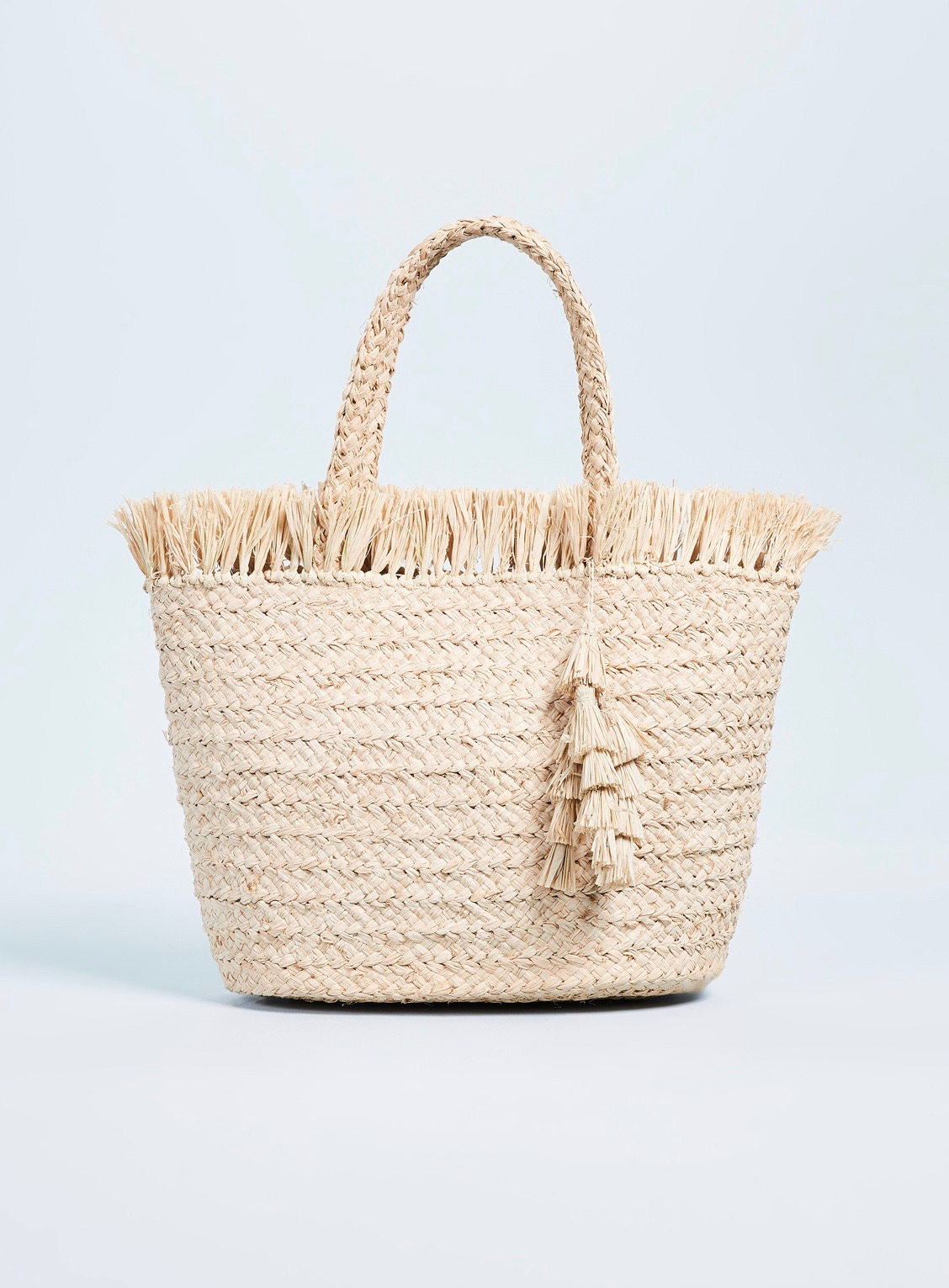 Frayed Top Straw Tote