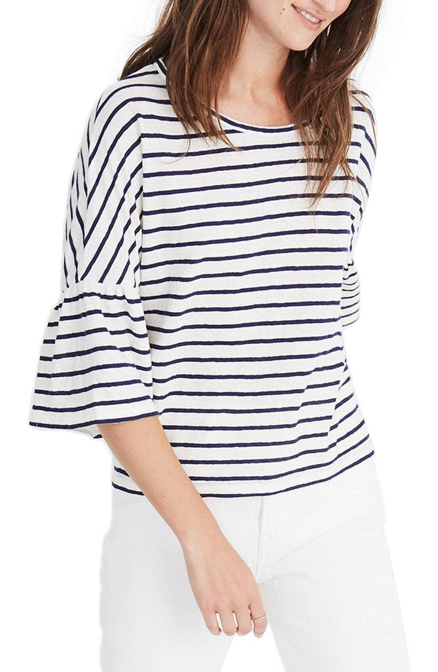Stripe Flare Sleeve Tee Black White
