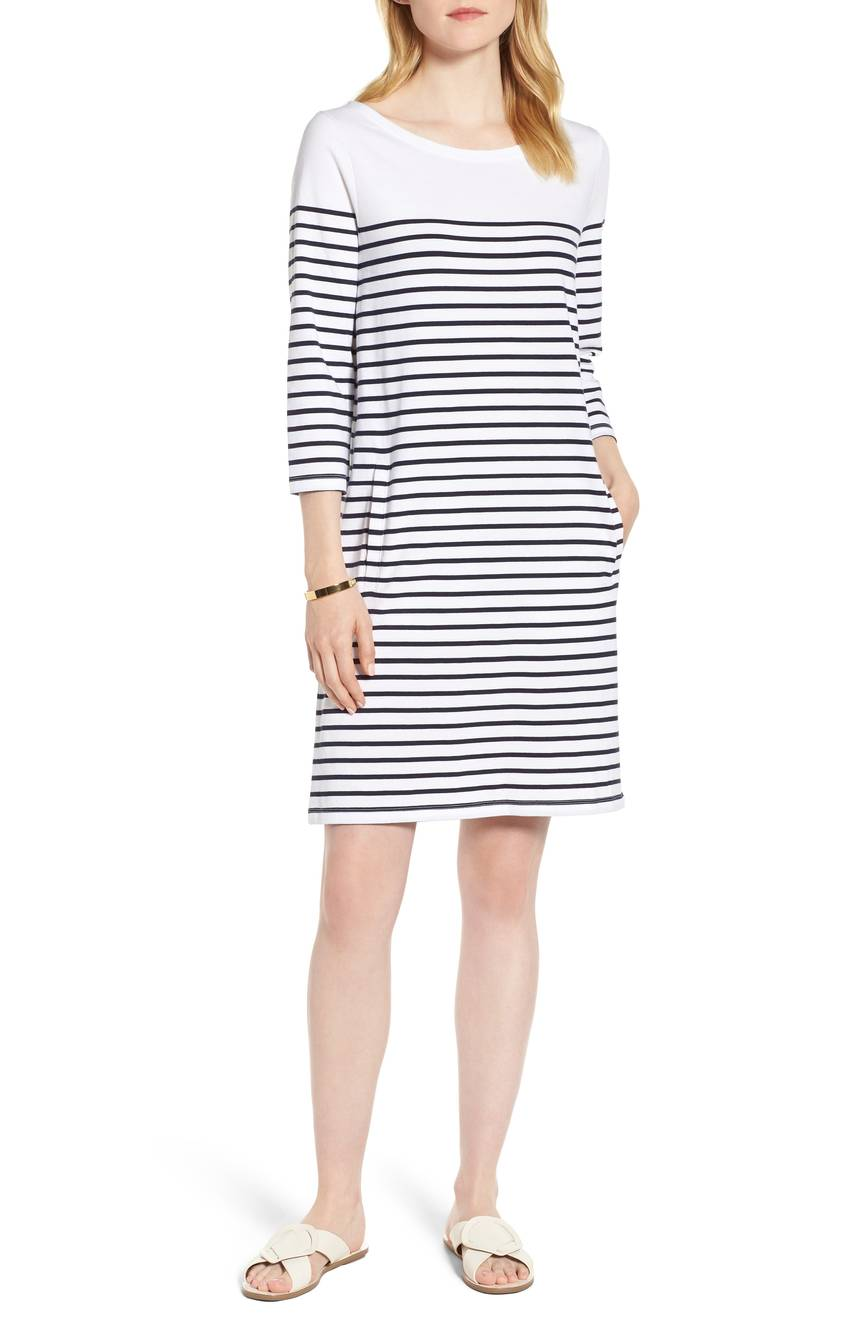 Cotton Knit Stripe Shift Dress