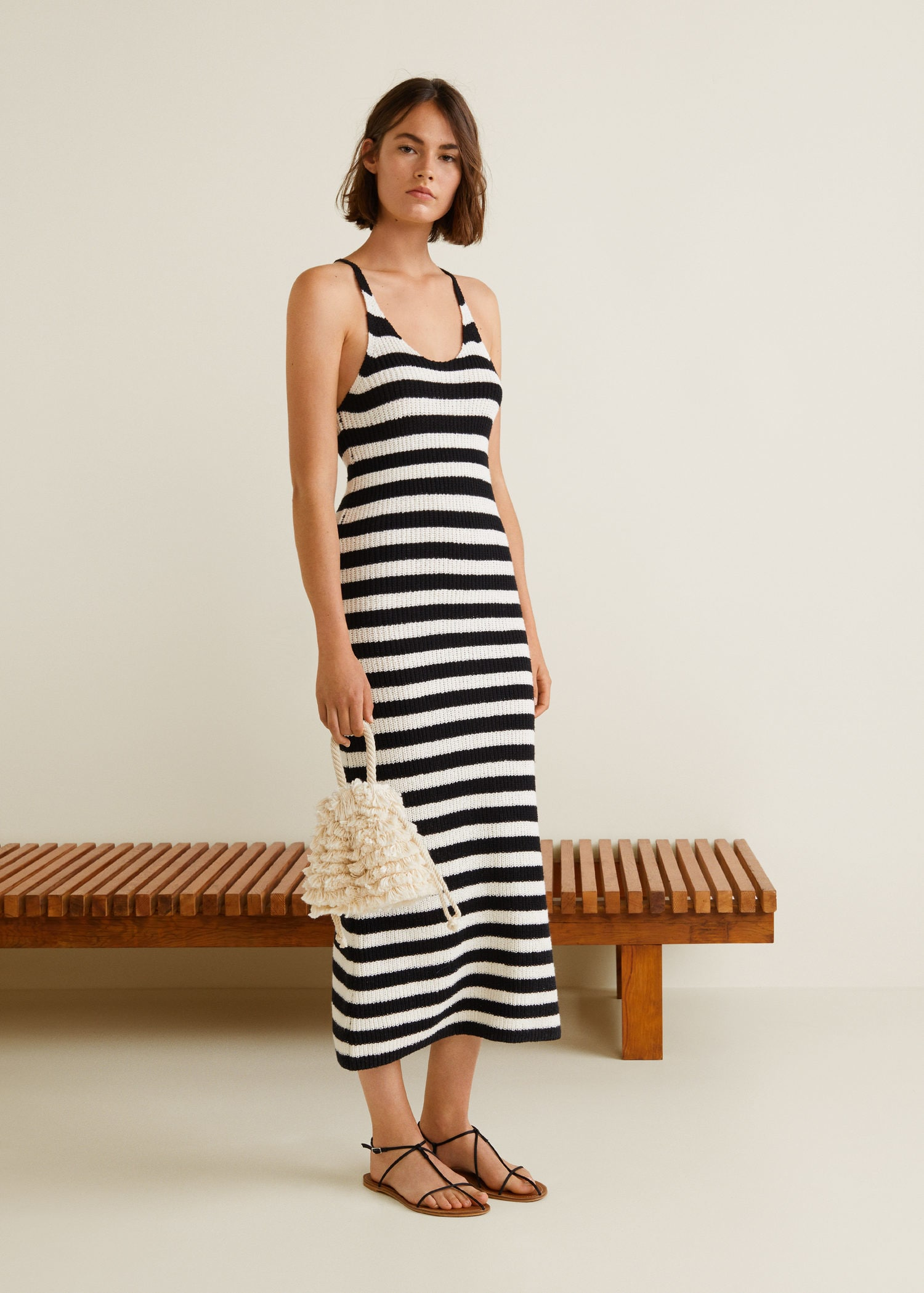 Stripe Knit Maxi Dress Black White